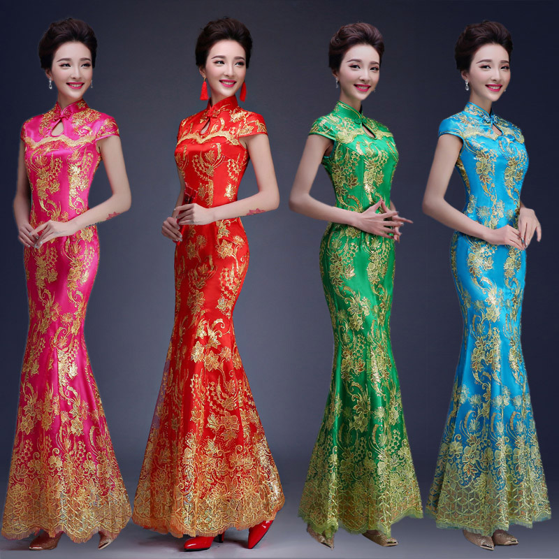 Red blue green color luxury chinese traditional wedding for Chinese style wedding dress