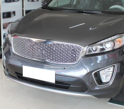 Honeycomb Grille Mesh Hood Trim Stainless Steel For Kia Sorento L 2015 Silvery in Chromium Styling from Automobiles Motorcycles