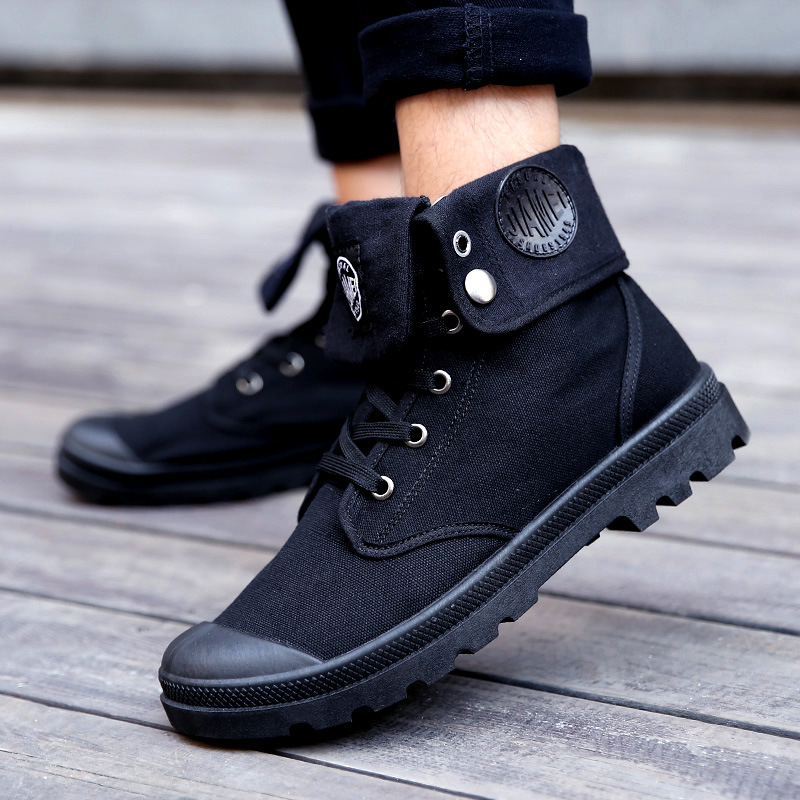 Men Military Boots 2019 Outdoor Fashion Canvas High Top Shoes Men Casual Shoes Ankle Boots Black Chelsea Boots Zapatos De Hombre
