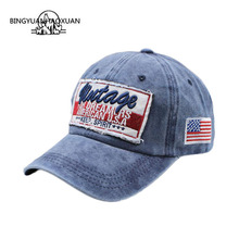 BINGYUANHAOXUAN Cotton Washed Womens Baseball Cap Fitted Snapback Hat For Men Gorras Casual Embroidery Letter Retro