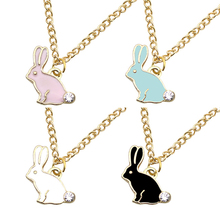 Creative Cute Rabbit Necklace And Pendant Rhinestone Enamel Animal Gold Chain Necklace Ladies Jewelry Gift Dropshipping Collares cute rabbit style rhinestone pendant necklace pink silver