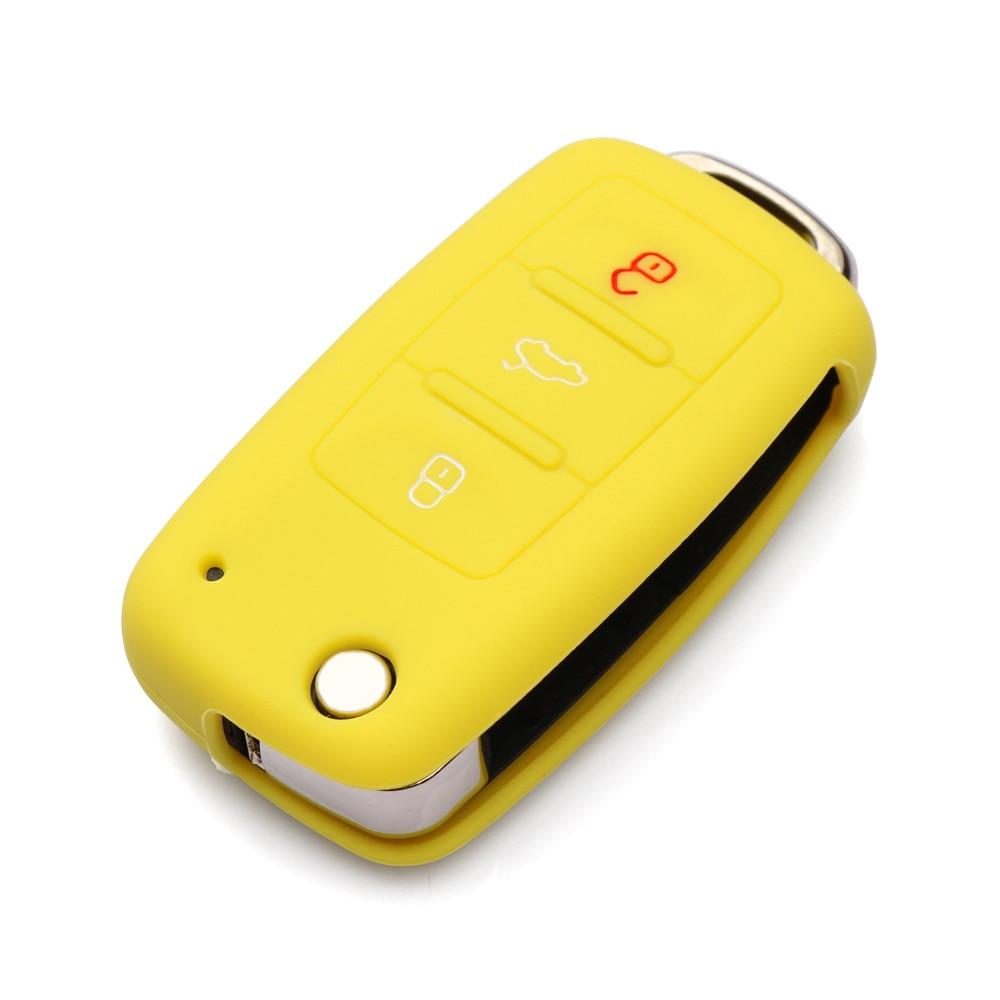 Силиконовый чехол для ключей автомобиля для Volkswagen polo passat golf 5 6 jetta tiguan Gol CrossFox Plus Eos Scirocco Beetle, автомобильный Стайлинг - Название цвета: Цвет: желтый
