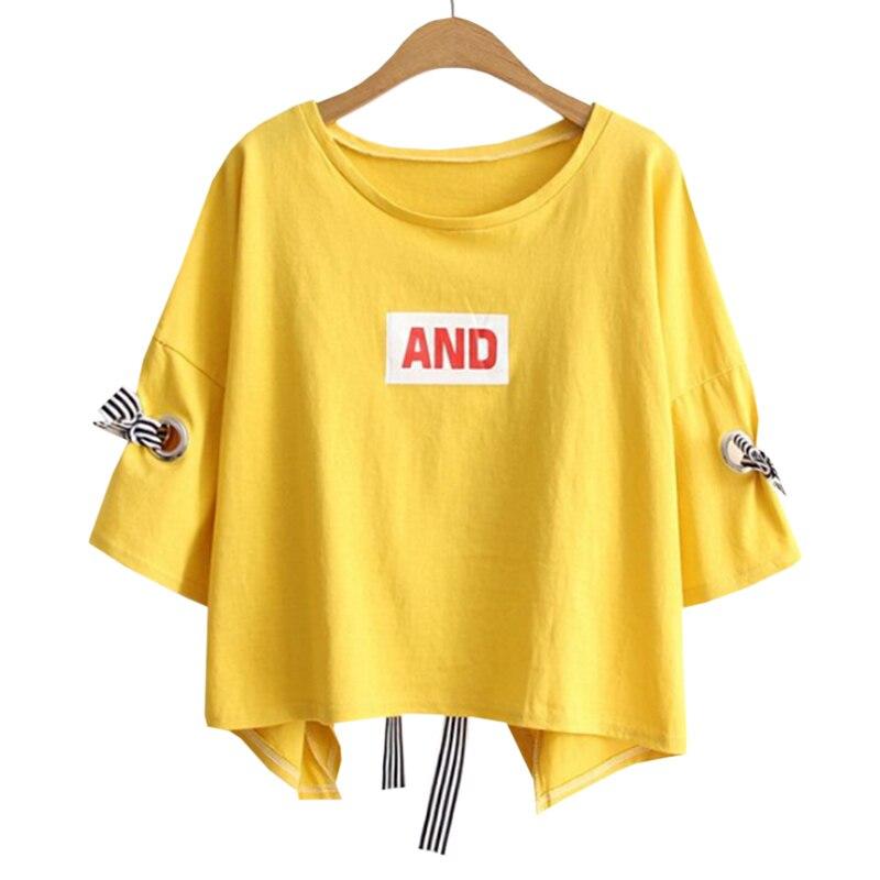 2018 Women T-shirt High quality Short Sleeve Yellow lovely Gril Summer T Shirt Tops Tees