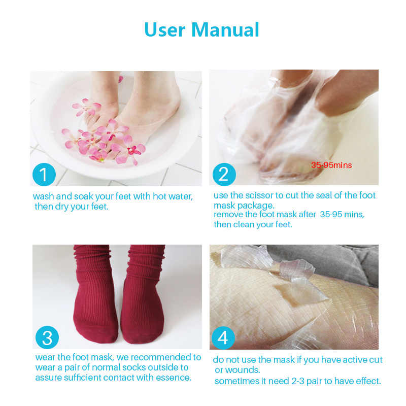 3 paar = 6PCS Fuß Maske Peeling Füße Maske Füße Creme Feuchtigkeitsspendende Glatte Schwielen Fuß Peeling Maske Spa Socken für Pediküre