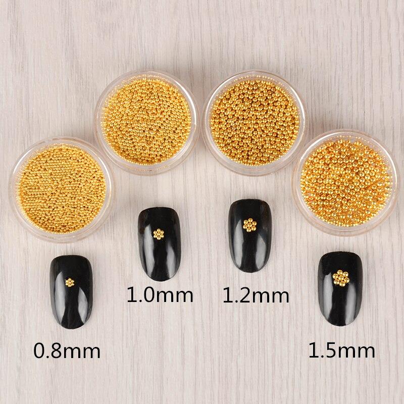 1 Box Gold Stahl 3d Nail Art Dekorationen 0,8mm/1,0mm/1,2mm/1,5mm Maniküre Studs Nail Art Dekoration Nails Art & Werkzeuge Schönheit & Gesundheit