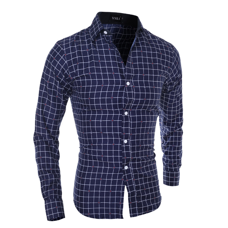Zogaa Men's Slim Long Sleeve Shirt Plaid Casual Autumn Spring Cotton Shirt Male Tops Clothing Plus Size Shirts Chemise Homme