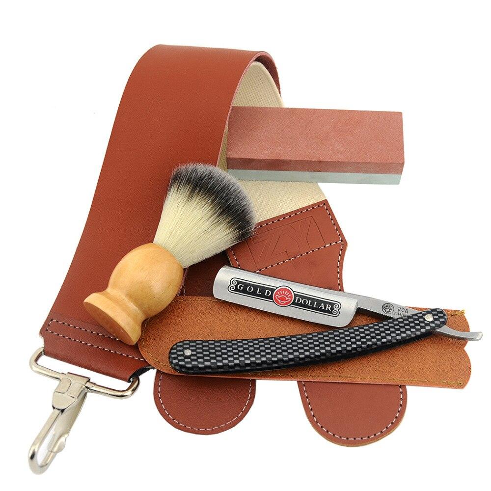 Hombre recto maquinilla de afeitar cortar la garganta cuchillo dólar de oro  208 + Piedra de afilar + brocha de afeitar + sacapuntas Strop cinturón en  ... 146f4a37ed72