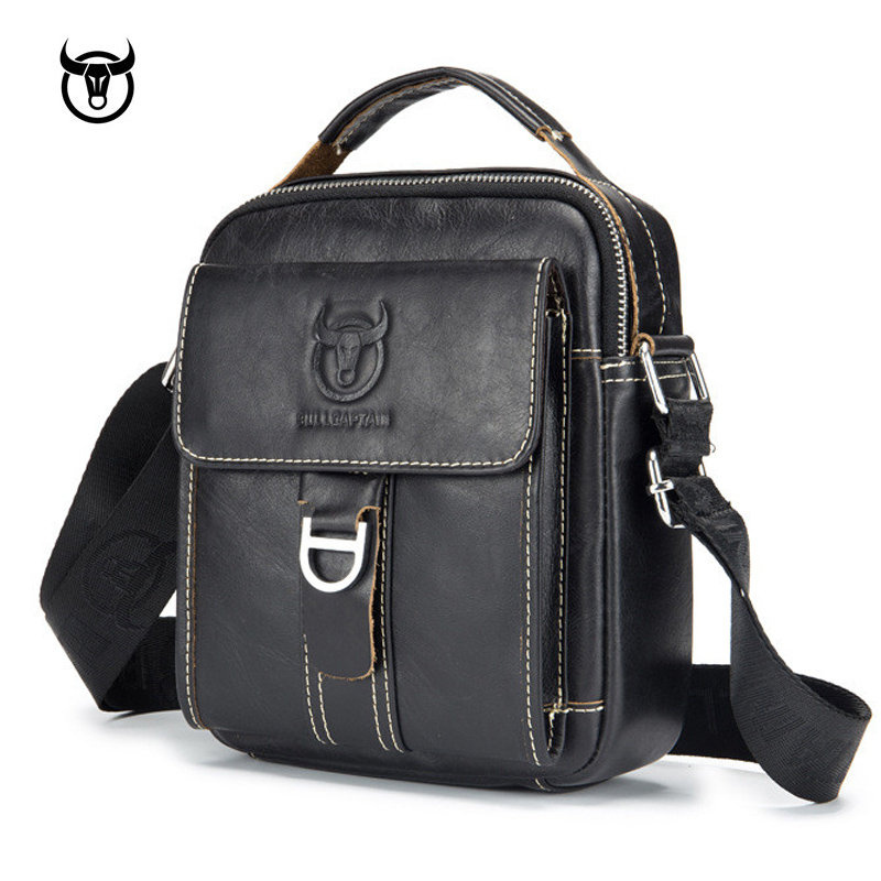 mens Genuine Leather Vintage Shoulder Messenger Bag male Casual multifunction Small Crossbody Flap hangbag man Messenger Bags ...