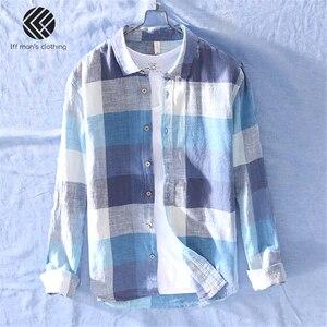 Image 2 - 男性春と秋のファッションブランド中国カラフルなチェック柄のコットンリネン長袖シャツ男性カジュアル薄型シャツ