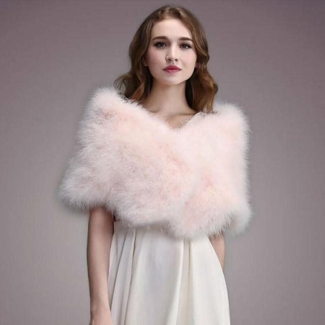 IANLAN Casual Solid Ostrich Feather Shawl Wrap for Women Bride Wedding Stole Ladies Real Turkey Fur Scarves Shawls IL00035