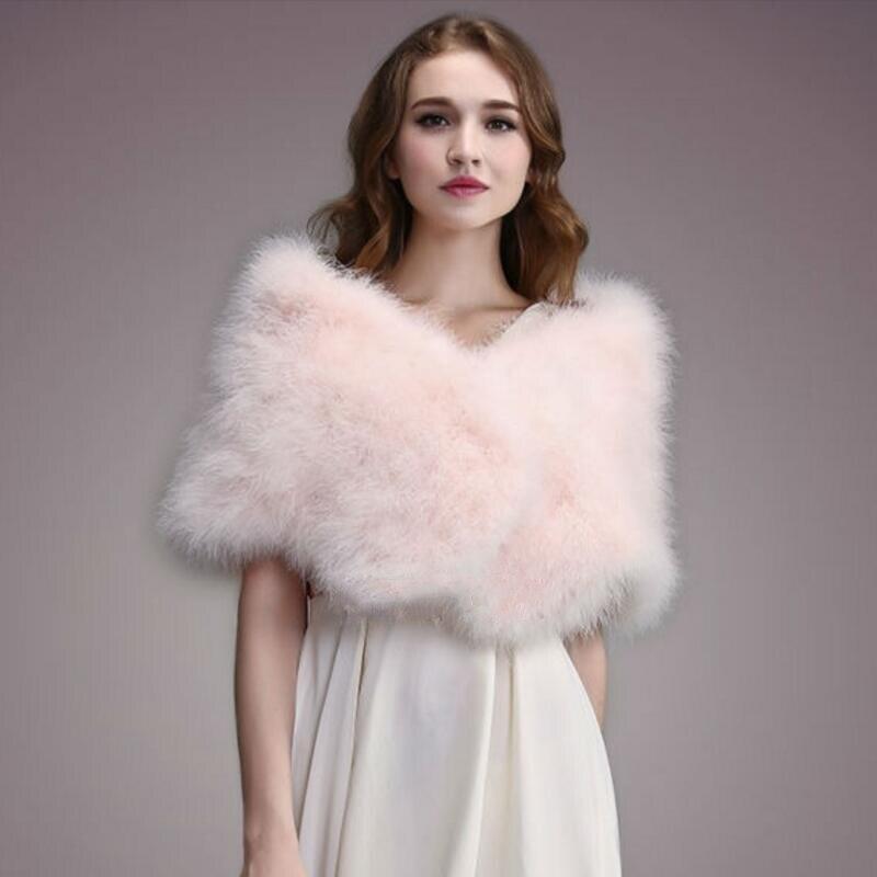 IANLAN décontracté Solide plume d'autruche Châle Wrap pour Femmes Mariée Mariage A Volé Dames Réel Turquie foulards en fourrure Châles IL00035