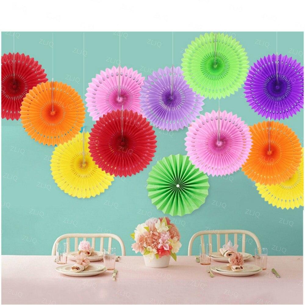 5pcsset Hollow Out Paper Folding Fan For Wedding Tissue Paper Fan