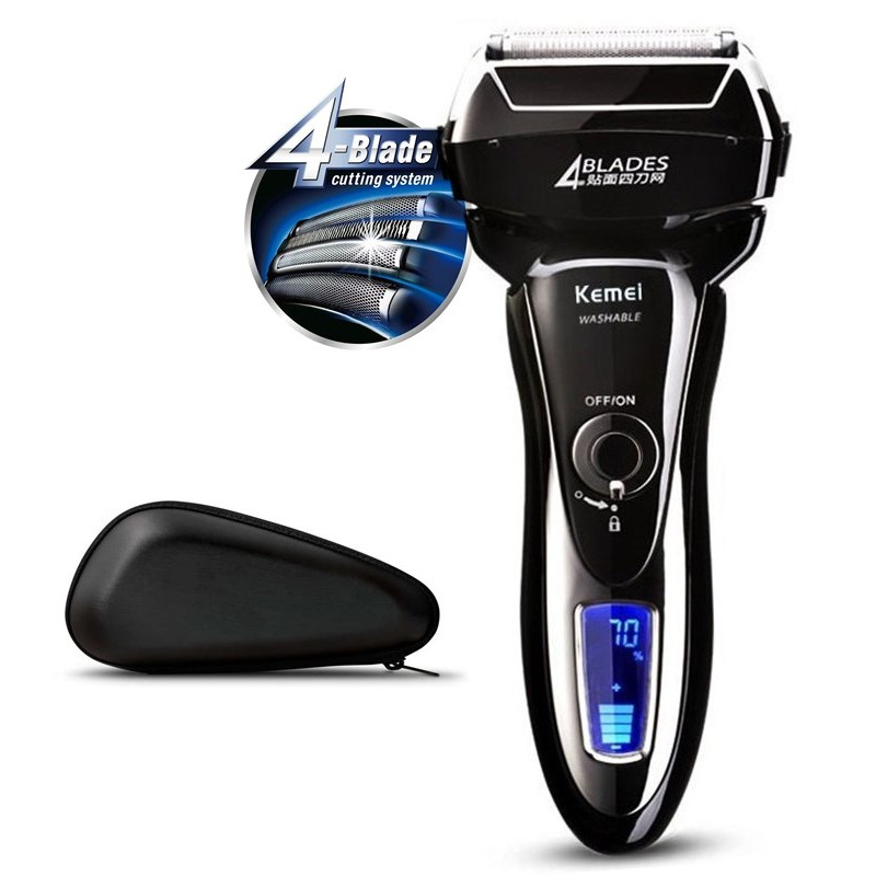 LCD Reminder 4 blade waterproof electric shaver for men rechargeable electric razor beard face shaving machine