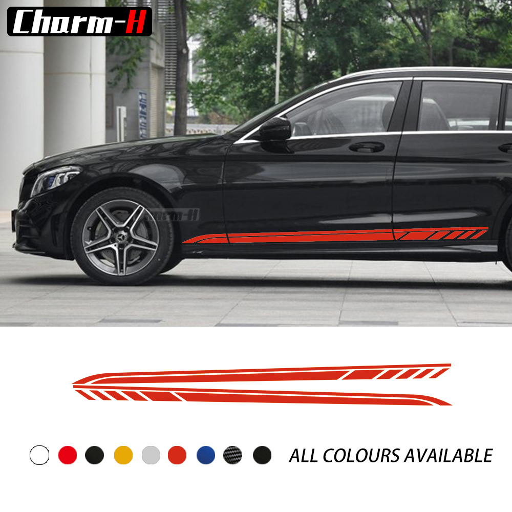 2Pcs Car Styling Door Side Stripes Skirt Stickers Decal for Mercedes Benz C Class 2019 Estate W205 C63 AMG Accessories image