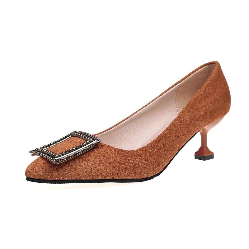 d231d53c Nueva Oficina Hebilla beige Metal Altos Zapatos Bombas En Negro Brown Punta  Moda Tacones Partido De Marrón Beige Sexy black Señoras Mujer ...
