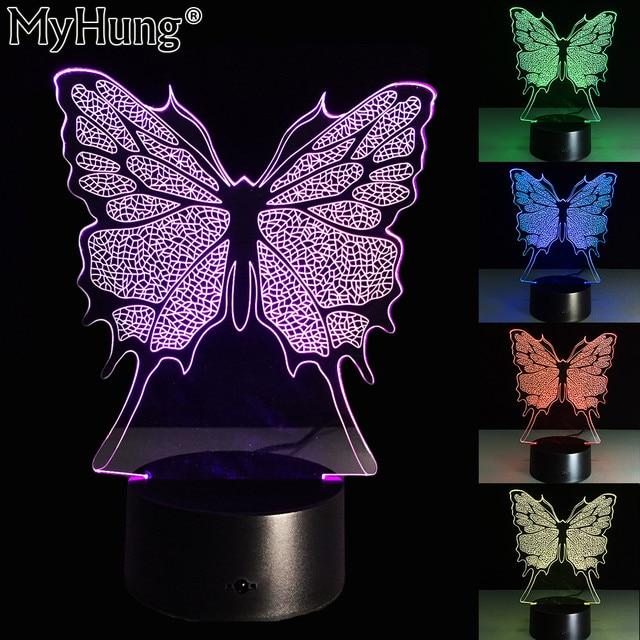 High Quality Butterfly Shape 3d Illusion Night Light Children Sleep