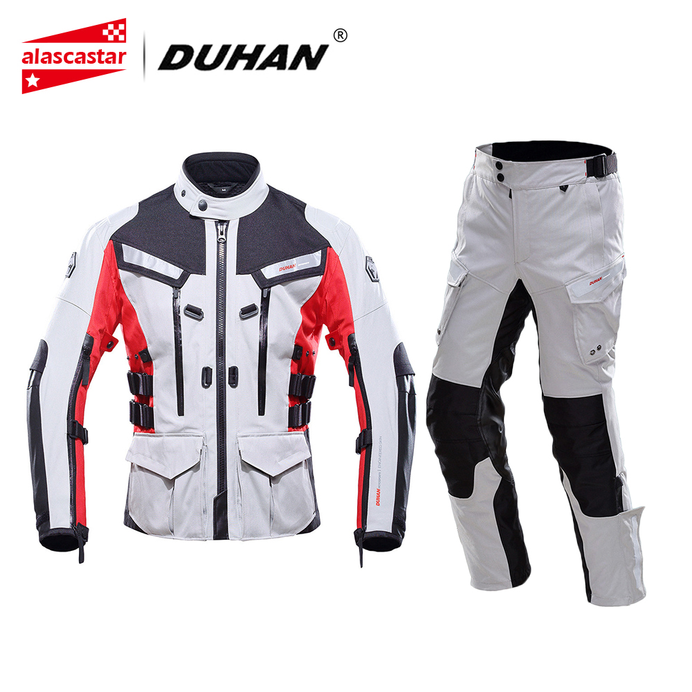 DUHAN Motorcycle Jacket Waterproof Motorcycle Racing Touring Jackets and Pants With Elbow Shoulder Back Protector CE Motorbike duhan motorcycle jacket waterproof moto jacket men s motocross clothing motorcycle suit with elbow shoulder back ce protector
