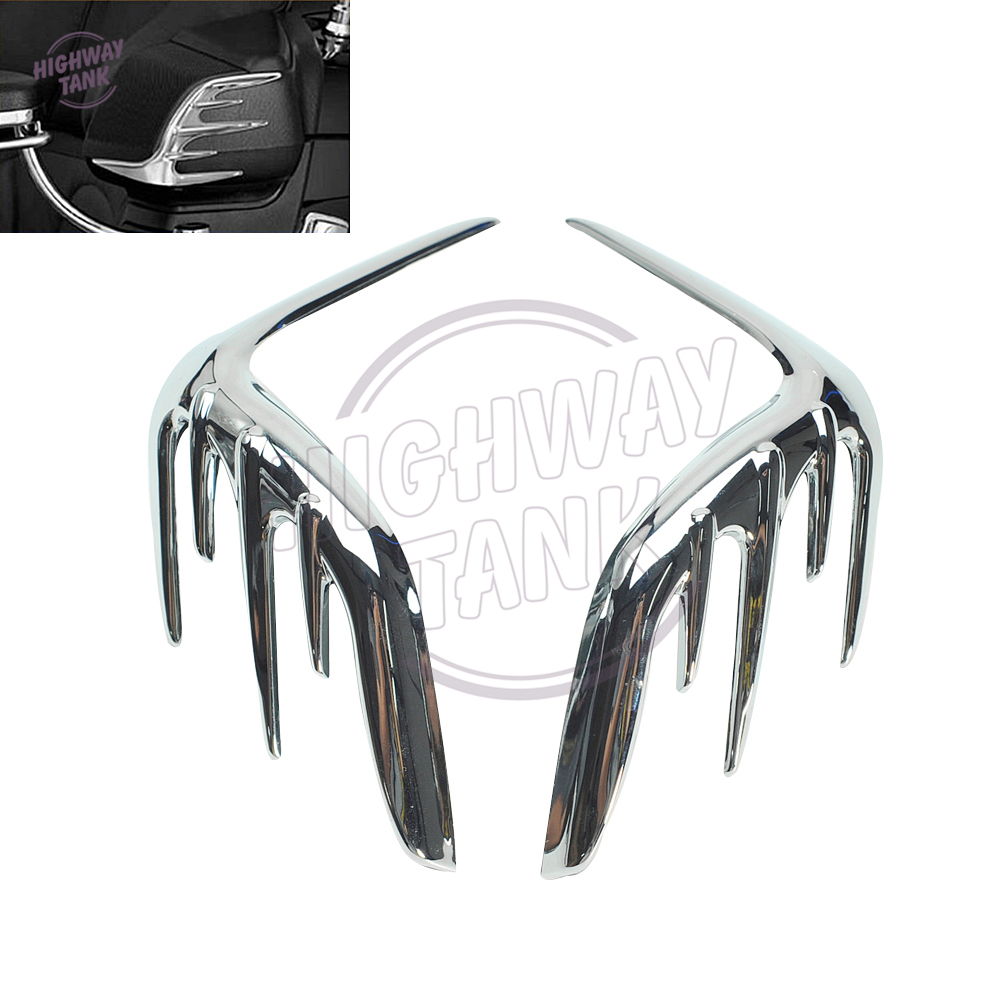 Chrome Motorcycle Passenger Speaker Outer Trim case for Honda Goldwing GL1800 2006-2015 2007 2008 2009 2010 2011 2012 2013 2014 motorcycle aluminum headlight grill cover case 5 3 4 black for harley xl883 04 05 2006 2007 2008 2009 2010 2011 2012 2013 2014 page 4