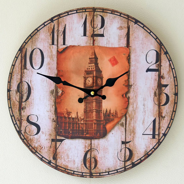 Europe United States Retro fashion Clocks Bell Tower frameless paintings Hanging 14in  electronic Wall Clock