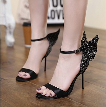 Summer high heels exposed toe word with sandals black was thin high-heeled sandals female 2017 new fine with wild tide ORATEE  2017 summer new sandals exposed toe high heels female sexy thick with buckle shoes wholesale
