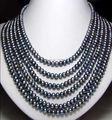 """De moda todas correspondan chica largo 130 """" 7 - 8 mm negro perlas cultivadas de Akoya collar de perlas de la joyería que hace YS0302"""