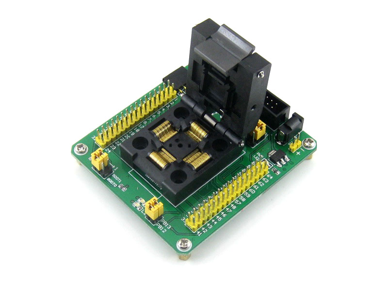 все цены на  QFP64 LQFP64 STM32F10xR STM32L1xxR STM32F2xxR STM32F4xxR Yamaichi IC Test Socket Adapter 0.5mm Pitch = STM32-QFP64  онлайн