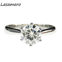 LASAMERO 1.5CT Round Cut Simulated Diamond Engagement Ring 925 Sterling Silver Solitaire Art Deco Style Promise Wedding Ring