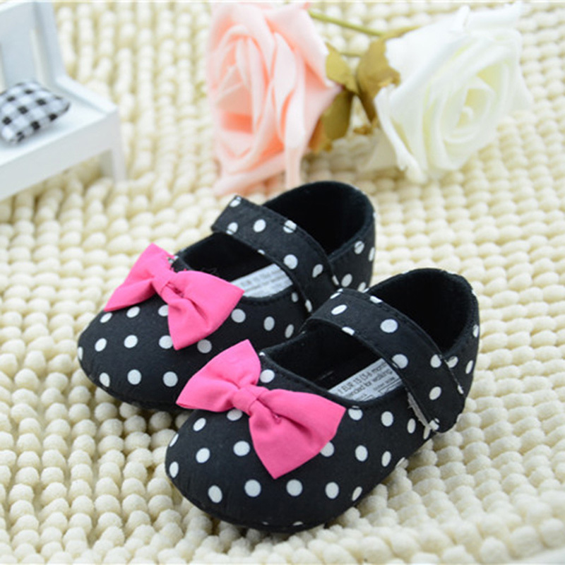 Toddler Baby Girl Princess First Walkers Black Polka Dot Crib Shoes Infant Shoe