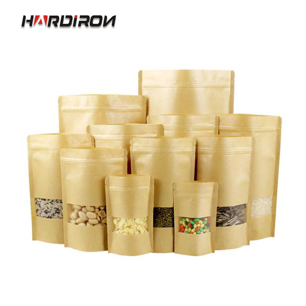 100PCS Yellow Kraft Paper Moisture-proof Zipper Bag Candy Dried Fruit Food Storage Stand-up Bag With Matt Display Window