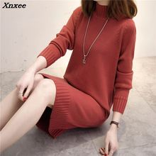 Autumn Winter Women Long Sweater 2018 New Loose Half Turtleneck Sleeve Knit Pullover Female Casual Large Size Xnxee
