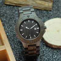 2017 Luxury Brand Wooden Men Quartz Watch With Luminous Hands Calendar Analog Full Wood Wrist Watches