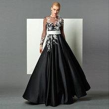 Tanpell black evening dress appliques scoop neck long sleeves floor length women prom gown custom formal a line dresses