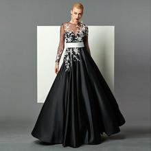 Черное вечернее платье с аппликацией tanpel глубоким вырезом