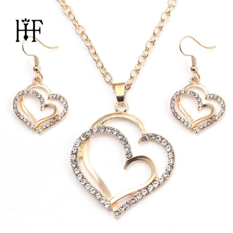 Doppel Herz Bijoux Sets Schmuck Frau Hochzeit Halskette Ohrringe Rose Gold Gold Farbe Valentinstag Geschenk Joyas