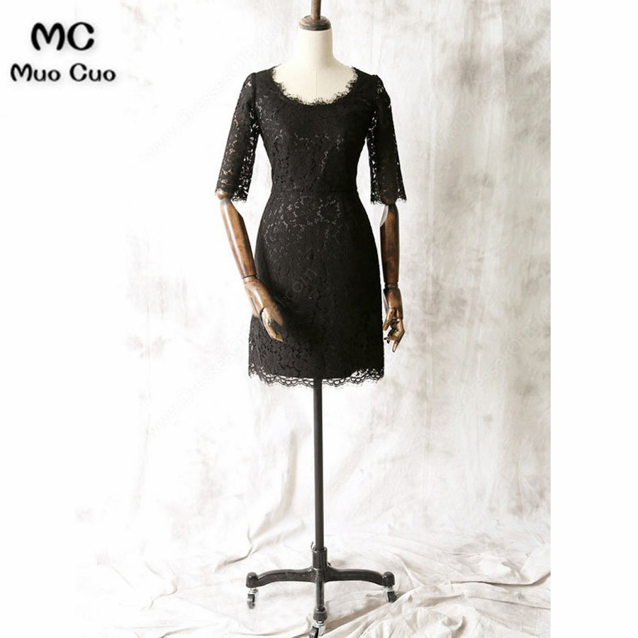 2018 Black Mother Of The Bride Dresses With Lace Half Sleeves Black Mother Of The Bride Dresses For Weddings