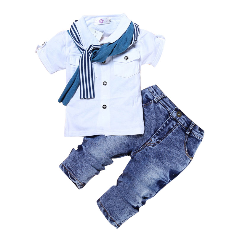 Boys Set Summer Short Sleeve Suit Fashion White T-shirt Jeans Pants Cool Boys Clothes Cotton Kids Clothes Active Style