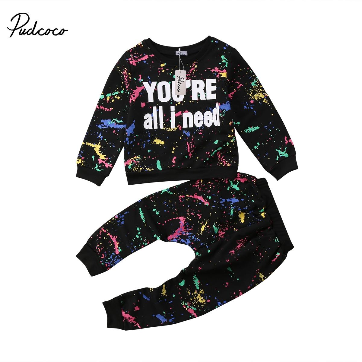 88edfde7c Girls Fashion Graffiti Street Style Clothing Set Cute Kid Baby Girl ...