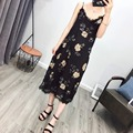 2017 Fashion Vestidos Floral Print Lace Women Dresses Sexy Sleeveless Vintage Casual V Neck Spaghetti Strap Slim Summer Dress