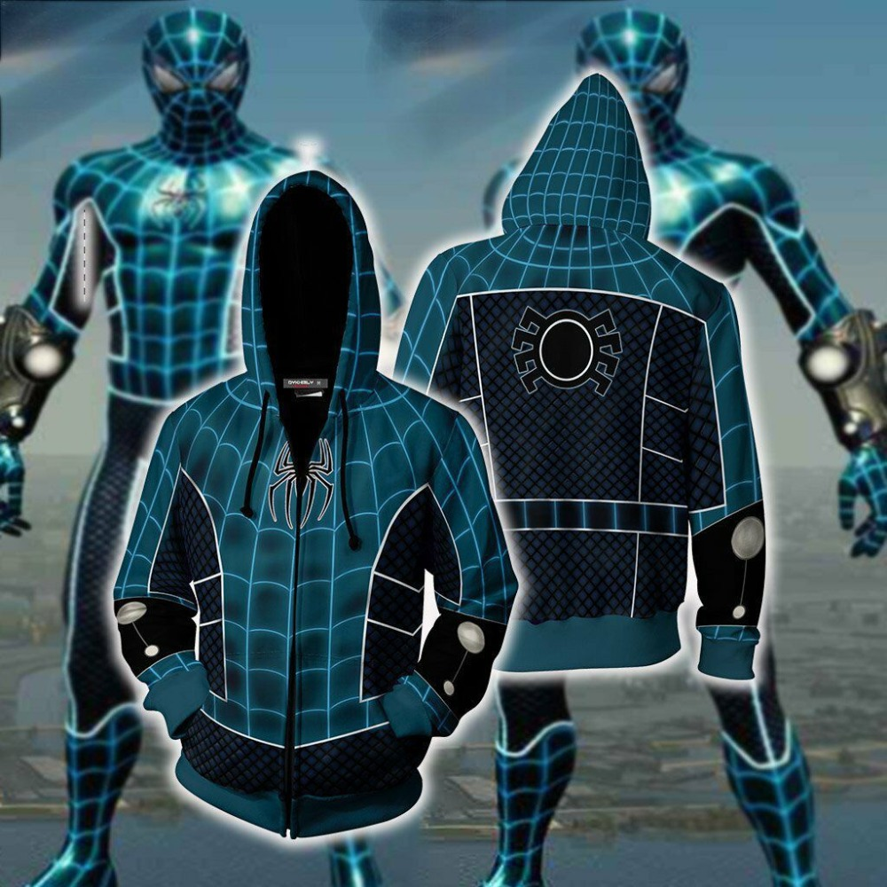 PS4 Game Scarlet Spider PS4 spider-man Cosplay Costume Spiderman Hoodies 3D Printing zipper Hooded Sweatshirts Sports fleece