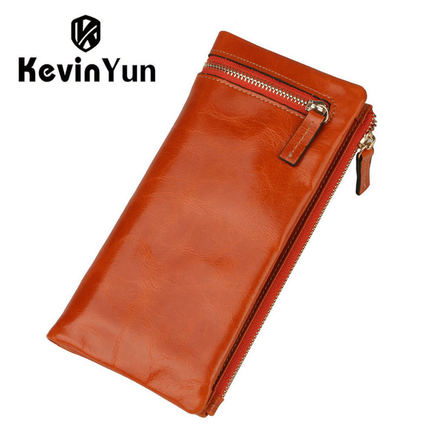 KEVIN YUN Luxury Women Wallets Long Genuine Leather Purse Oil Leather Female Wallet Casual Carteira Feminina