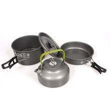 Outdoor Camping Cookware Hiking Picnic Tableware Backpacking Pot Pan Outdoor Cooking Set Tourism Tableware Frying Pan Kettle цена и фото