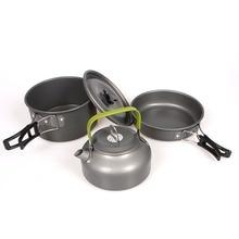 лучшая цена Outdoor Camping Cookware Hiking Picnic Tableware Backpacking Pot Pan Outdoor Cooking Set Tourism Tableware Frying Pan Kettle