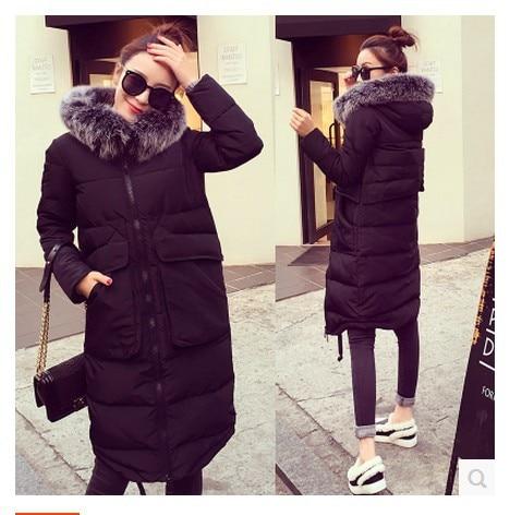 2016New Winter Small Silver Fox Fur Hoodie Slim Long Down coat