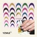 YZWLE 1 Multicolor Folha Da Arte Do Prego Etiqueta, unha Arte Dicas Francês Guias Etiqueta DIY Stencil Manicure Ferramentas