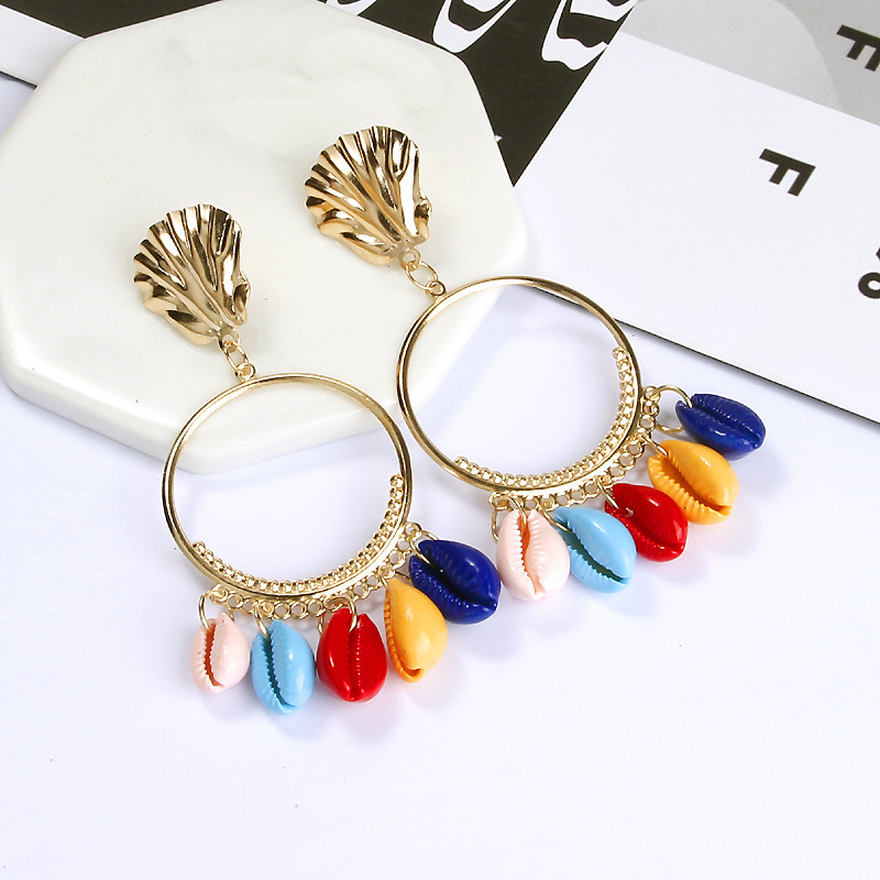 LEADERBEADS Girl 39 s Bohemian Multicolor Natural Shell Gold Alloy Circular Ear Circle Big Pendientes Earrings Summer Beach Jewelry in Drop Earrings from Jewelry amp Accessories
