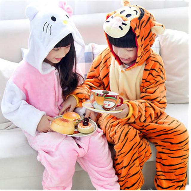 Invierno Suave del mono de Los Niños Manta de Cama de Franela Animal pijamas Niños ropa de Dormir de Cosplay kigurumi Capucha Mameluco