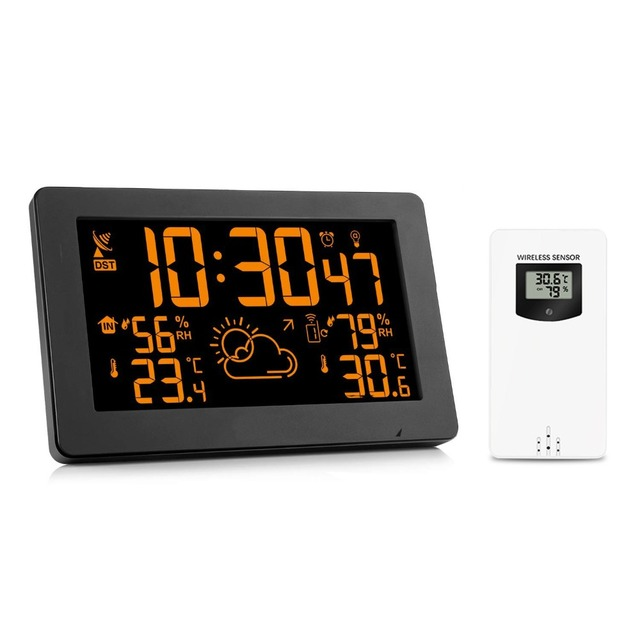 Protmex PT3378A Color Display Wireless Weather Station, Indoor Outdoor Digital Weather Thermometer Barometer