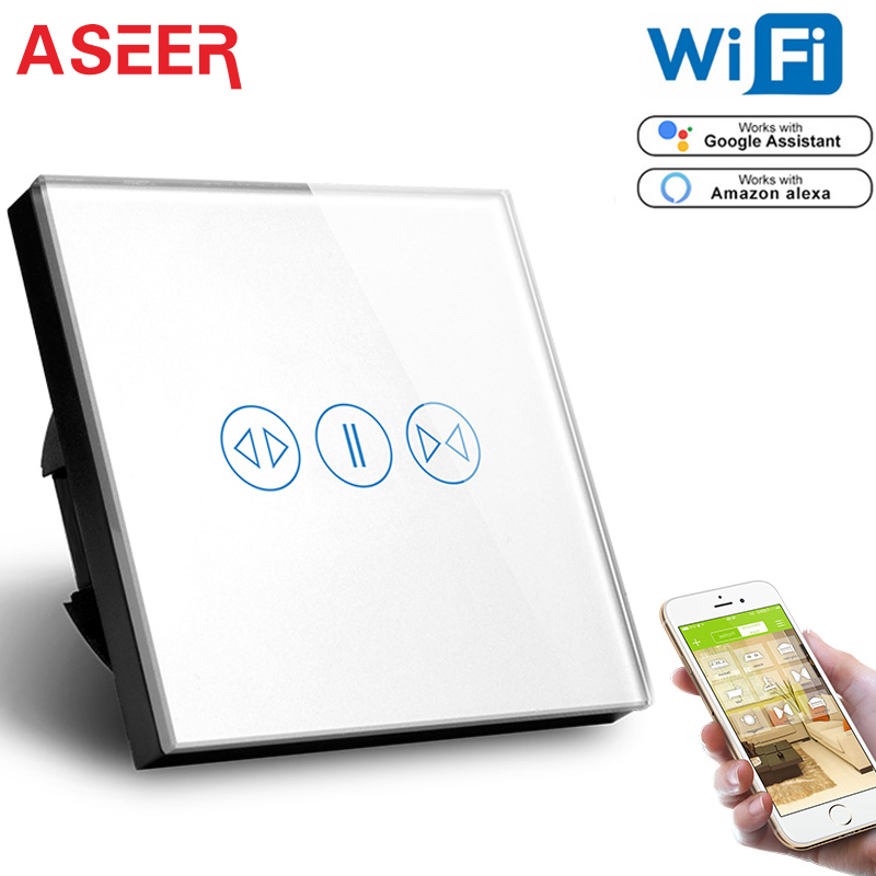 US $26 99 50% OFF|ASEER,Tuya Smart Life WiFi Curtain Switch for Electric  Curtain Blind Roller Shutter, Google Assistant,Alexa Voice Control  Switch-in