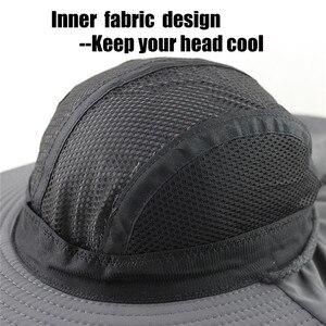 Image 4 - Sonbahar güneş şapkası erkek kadın kepçe şapkalı boyunluk açık UV koruma geniş geniş Brim yürüyüş balıkçılık örgü nefes kap