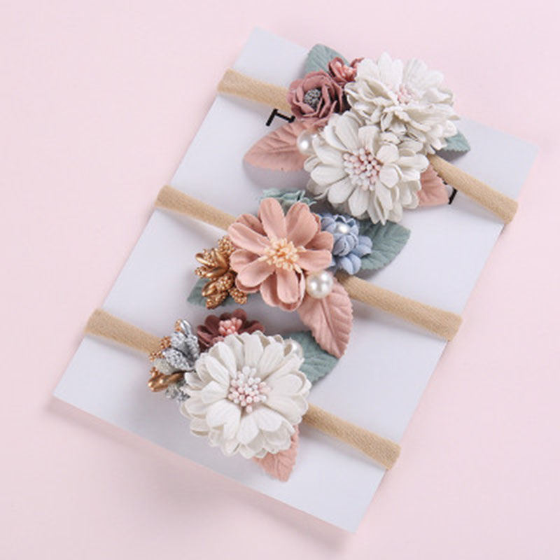 1 Piece Fashion Florals Headband Newborn Baby Elastic Princess Nice Hairbands Child Kids Pearl Fresh Style Cute Headwear Gifts